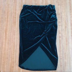 Velvet Emerald Midi Skirt